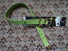 Leather Dog Collar Petmate Green Briar Rose Design Rhinestones Gold Large Size