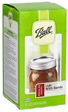 BALL Regular Mouth Dome  Bands & Lids For Mason Jars Canning  12 bands & 12 Lids