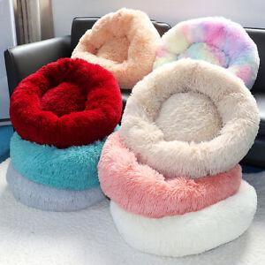 Donut Dog Bed Luxury Soft Plush Kennel Calming Mattress Beds Diameter 40-100cm