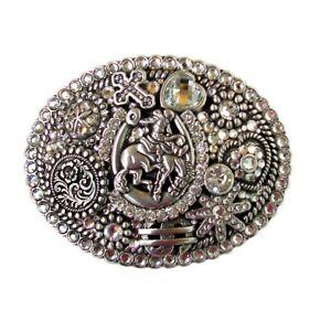 NOCONA Silver & Gold ~WESTERN BELT BUCKLE~ Crystals, Horse, Horseshoe, Bronc 14