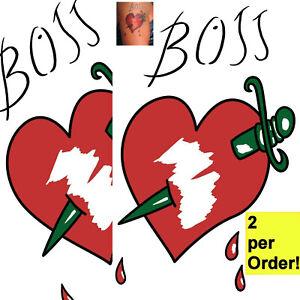 2 Boss,Frank N Furter Rocky Horror Show Heart Tmp Tattoo for fancy dress costume