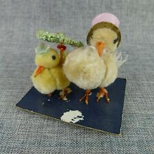 Vintage Chenille Easter Chick Couple Decoration Japan Hat Umbrella On Card