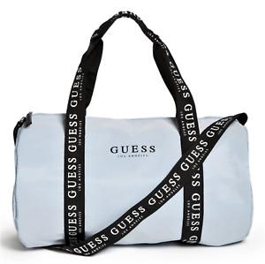 NEW GUESS LOGO DUFFEL BAG w- Crossbody Shoulder Handbag Strap Blue Grey BNWT