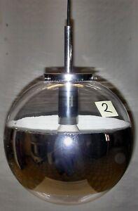 Vintage 70er Jahre Chrom Kugel Spiegel-Lampe 30cm  Deckenlampe Space Age (Nr.2)