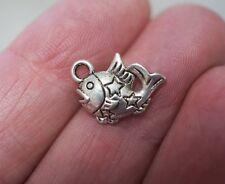 10 Fish Charms/Pendants - 15mm, Metal Antique Silver