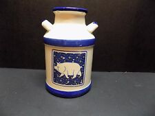 Very Cute, Hand-Painted Ceramic Cream/Milk Can, Pig Kitchen Tool Holder-NICE!