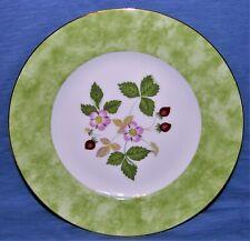 Wedgwood Wild Strawberry Bone China Made in England Salad Plate Green Border