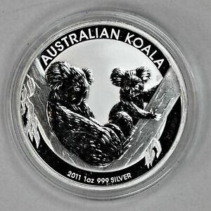 2011 UNCIRCULATED AUSTRALIAN KOALA, 1oz 0.999 FINE SILVER