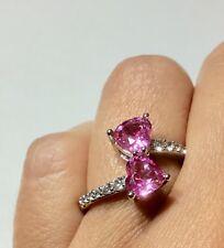 Ring 10K White Gold w/ Pink & White Sapphire Lab Created Stones, Size 6.75 EU 53