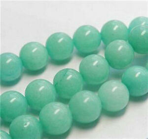 "4/6/8/10/12/14mm Brazilian Aquamarine Gemstone Round Loose Bead 15"" AAA+++"