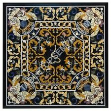 "48"" Black Marble Side Dining Table Top Pietra Dura Inlay Furniture Decor E499"