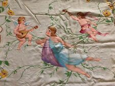 Antique Hand Painted Bedspread with Angels cherub Roses Birds Fancy Doily Panels