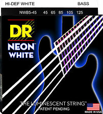 DR NWB5-45 NEON HiDef WHITE COATED BASS STRINGS, MEDIUM GAUGE 5's- 45-125