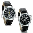 Sport Analog Quartz Wrist Watch Men's Black Leather Military Date New Watches