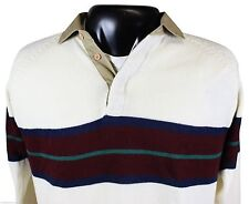 Vtg 80s Le Tigre Mens Sweater Large Striped 3-Button Collar Knit Free Shipping!