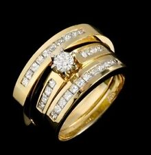 2.5 TCW White Diamond 14K Yellow Gold Over Trio Ring Set Wedding All Size R Band