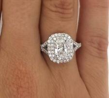 2.00 Ct Cushion Cut D Si1 Diamond Halo Solitaire Engagement Ring 14K White Gold