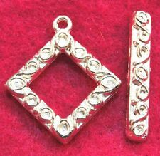 5Sets Silver-Plated SQUARE Toggle Clasps Connectors Tibetan Hooks Findings C307