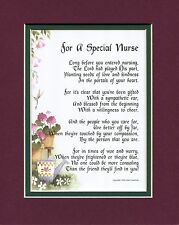#166 Present Gift Thank You for a Special Nurse Double matted 8X10 Poem