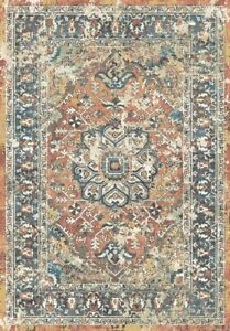 Dover Area Rug Runner Vintage Traditional Distressed Pastel Rust Blue