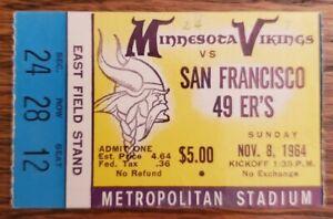 Minnesota Vikings San Francisco Football Ticket Stub Nov 1964 Tarkenton TD 68-70