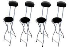 4 XBlack acolchado plegable silla alta Desayuno Cocina Taburete Asiento suave de PVC 94cm
