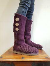 Ugg Classic Cardy Tejido Lana Botas Altas Rrp £ 125 Talla 5.5 púrpura