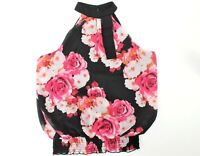 IZ Byer Chic Floral Blouse Halter Neck Large Sleeveless  Elastic Waist Womens