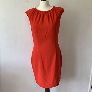 H&M Sleeveless Red Dress Size 40 Medium Smart Fitted Knee Length Work Office