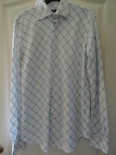 "Nice blue and white long-sleeved cotton shirt-size M (chest 38""-40"" EUR: 48-50)"