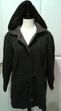 Avoca Ireland Irish Wool Jacket Green Hooded Drawstring Plaid Size L Large