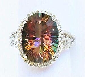 Clyde Duneier Womens 10k Solid Gold Ring 15ct Sunset Topaz 24 Diamond Designer