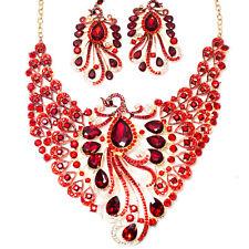 Schmuckset Collier Damen Bollywood Rot Goldfarben Set Ohrringe Hochzeit Pfau