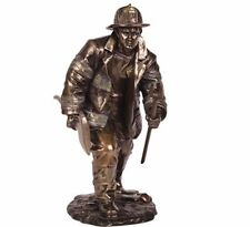 """Fireman Fighting Fire Hand Painted Resin Figurine Miniature Statue 7""""H New"""