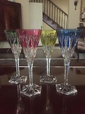Signed Val St Lambert Colored Crystal Wine /Champagne Set Of 4! Diamond RARE!