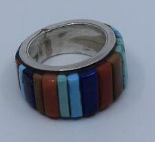 Fine Cobblestone raised gem inlay ring by Brett Bastien Charles Loloma student