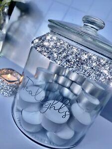 Tealight Gift / Storage Jar Crushed Diamond Beautiful