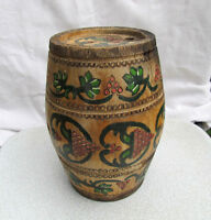 VERY RARE ANTIQUE OLD HAND CARVED PAINTED WOODEN CANTEEN FLASK KEG
