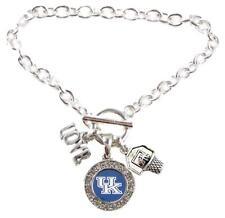 Kentucky Wildcats Multi Charm Love Basketball Blue Silver Bracelet Jewelry UK
