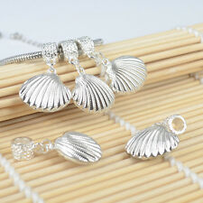 100PC Silver Plated Dangle Shell Conch Charms Spacer Beads Fit European Bracelet