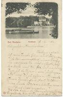 "DT.REICH BAD NAUHEIM, 1906 selt. s/w AK ""Teichhaus"", rs. K2 ""BAD NAUHEIM / 1"""