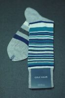 Cole Haan Men's Heather Gray Teal Stripe Dress Casual Socks 7 - 12 New
