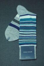Cole Haan Men's Heather Gray Teal Stripe Dress Casual Socks 7 - 12 New