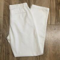 Vintage Womens Dockers White Khaki Stain Defender Pants Flat Front Size 8