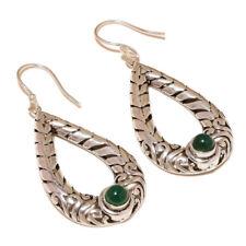 Cabochon Green Onyx Natural Gemstone silver plated Handmade Dangle Drop Earrings