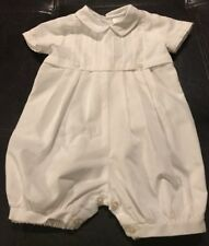 1ead7434cb27 Sarah Louise Infant Baby Boy Christening Baptism Solid White One Piece NB  Romper