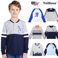Baseball T-shirt Long Sleeve Cartoon Cotton Tee Tops Costume Kids Boys Children