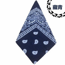 100 Cotton Paisley Bandanas Double Sided Printed Head Wrap Scarf Wristband #5 Navy Blue