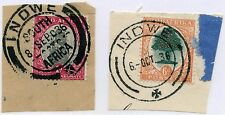 SOUTH AFRICA 1936 INDWE CANCELS 2 TYPES VFU on PIECE