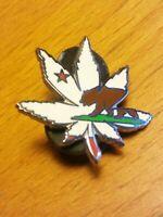 Vintage Alaska State Bear Cannabis Leaf Marijuana Pot Weed Lapel Pin Cloisonne